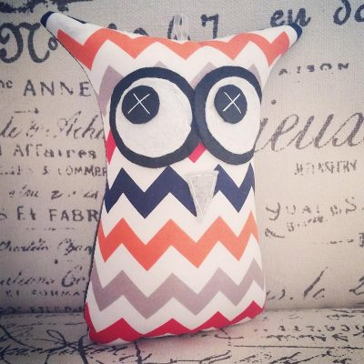 Chevron Orange and Navy | 18cm Owl