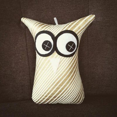 Metallic Gold Stripes | 18cm Owl