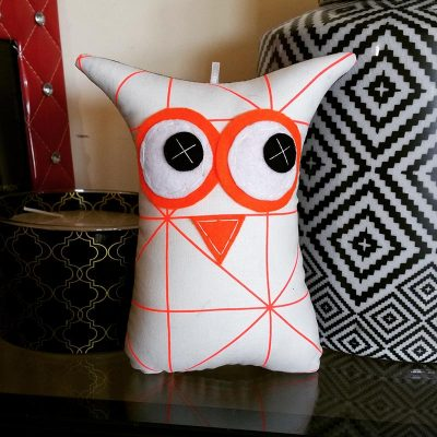 Orange Geometric Lines | 18cm Owl