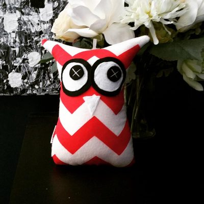 Red and White Chevron | 18cm Owl