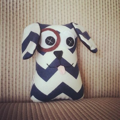 Navy and White Chevron | 18cm Puppy