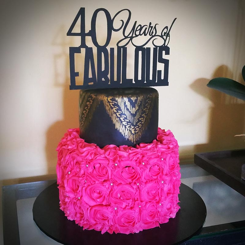 2 Tiered 40th Birthday Cake