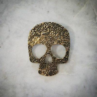 Large Vintage Gold Skull Pendant