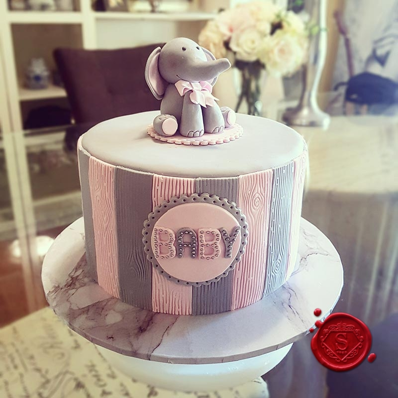 Baby Showers Gold Coast ~ Baby elephant girls shower cake sweet house studios
