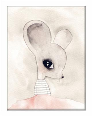 Watercolour Whimsical Mouse Print – Girls Boys 40x50cm