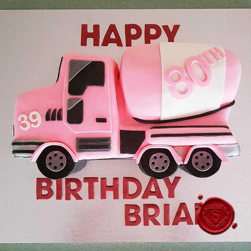 Pink Cement Truck 80th Cake Sweet House Studios Gold Coast