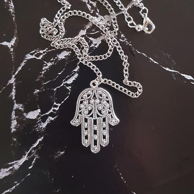 Hamsa Hand Silver Pendant Necklace