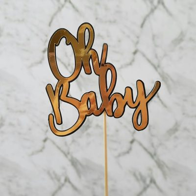 """Oh Baby"" Rose Gold and Black Cake Topper 