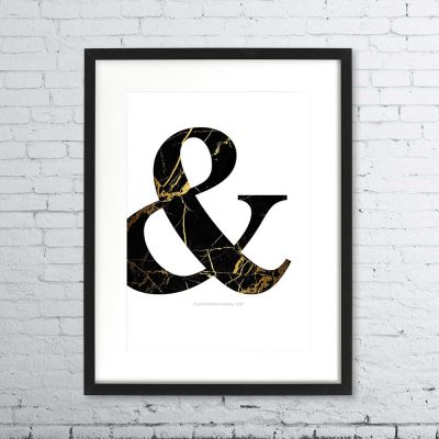 "Ampersand ""&"" Black and Gold Marble Print"