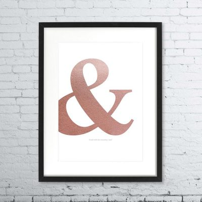 "Ampersand ""&"" Rose Gold Marble Print"